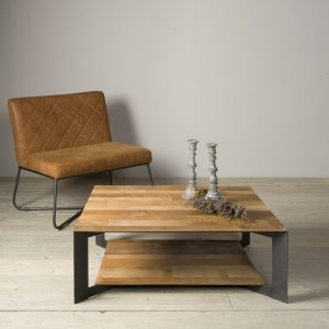 Coffee Table Pandora Staal Teakhout 100x100 cm Towerliving