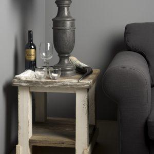 Hoektafel Daan witte grijze Vintage-Look 50x50cm Towerliving