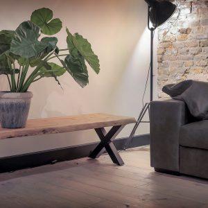 Boomstam Tv meubel Live Edge Zwart 130cm UrbanSofa